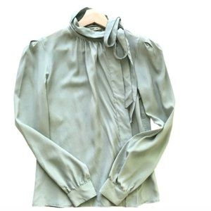 VTG Prada Silk Baby Blue Blouse with Ribbon Tie